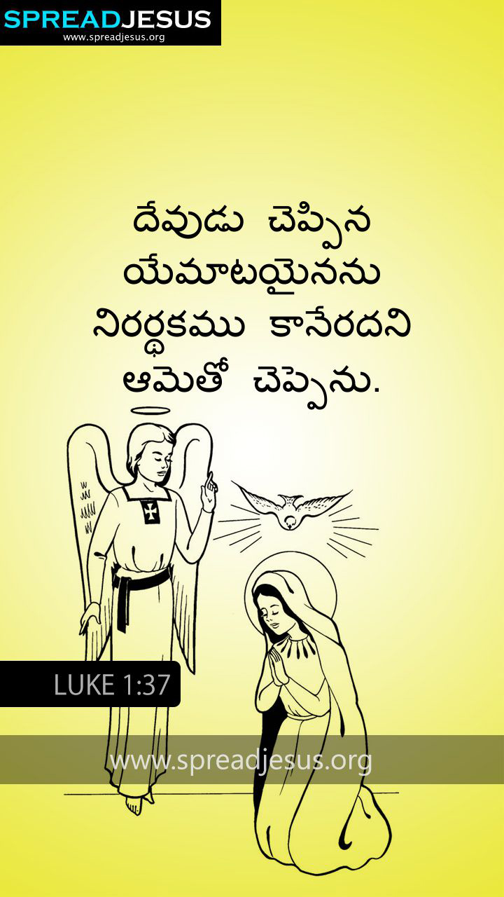TELUGU BIBLE QUOTES LUKE 1:37 WHATSAPP-MOBILE WALLPAPER BIBLE QUOTES IN TELUGU LUKE 1:37 WHATSAPP IMAGE For with God nothing shall be impossible.-Luke 1:37