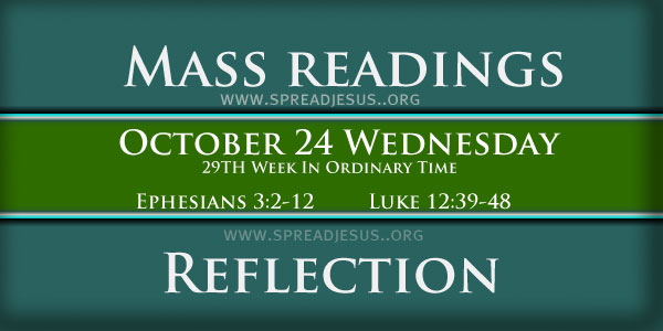 Catholic Mass Readings October 24 Wednesday 29th Week In Ordinary Time Year-B