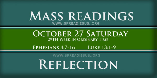 Catholic Mass Readings October 27 Saturday 29th Week In Ordinary Time Year-B