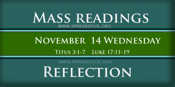 Catholic Mass Readings November 14 Wednesday 32ND WEEK IN ORDINARY TIME