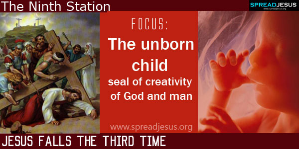 Jesus falls the third time:The unborn child-seal of creativity of God and man:THE WAY OF CROSS The Ninth Station -spreadjesus.org