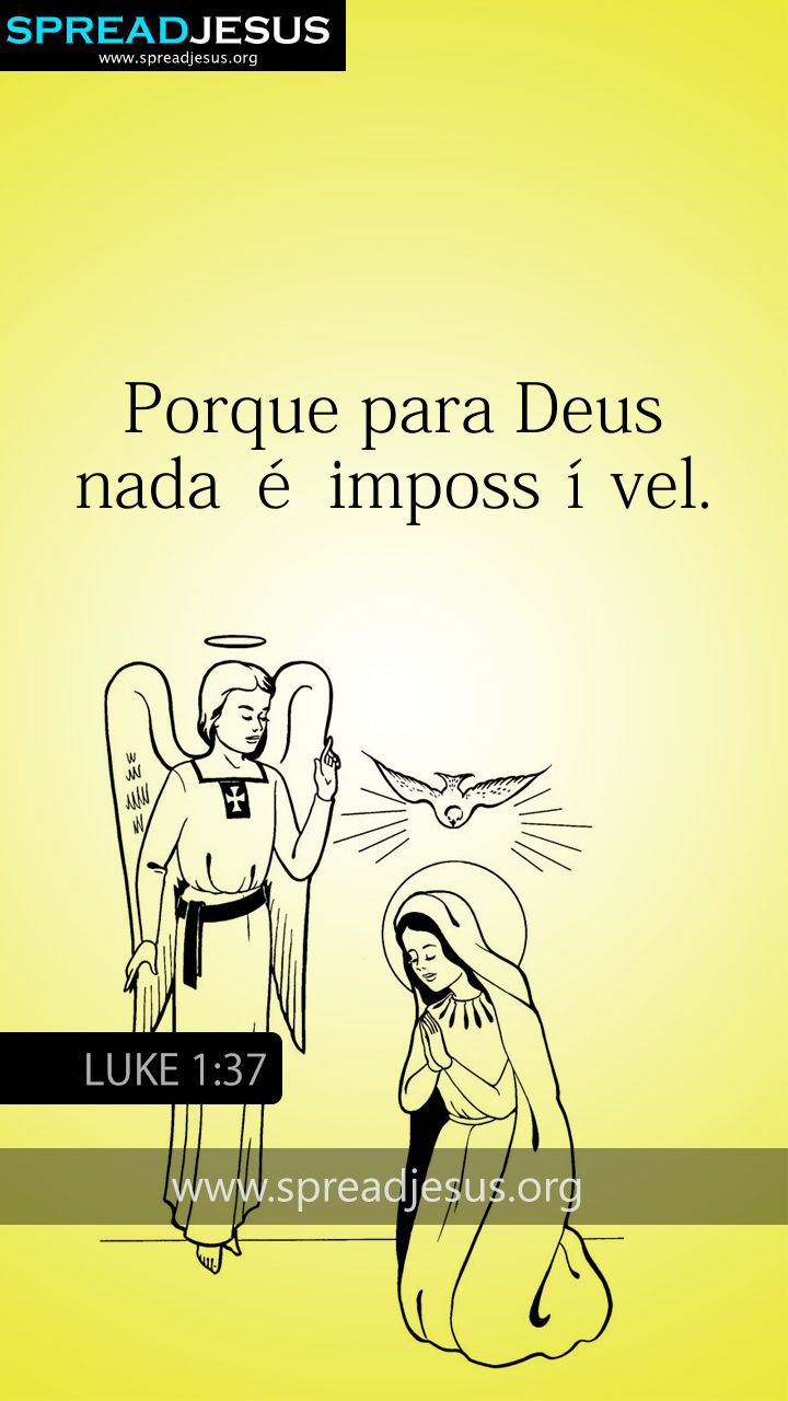 PORTUGUESE BIBLE QUOTES LUKE 1:37 WHATSAPP-MOBILE WALLPAPER
