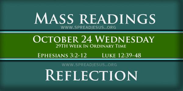 Mass Readings  October 24 Wednesday